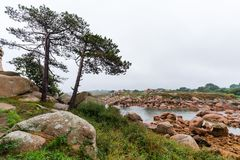 Coast of the Pink Granite, Ploumanach, Brittany, France. Coast of the Pink Granite, Ploumanach town, Brittany, France Stock Image