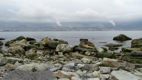 Coast port city of Novorossiysk. Sea  beach Royalty Free Stock Photo
