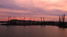Coast port city of Novorossiysk. Sea industrial evening Royalty Free Stock Photos