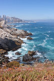 Coast portrait. Coast of Chile with rocks and green ocean Royalty Free Stock Photo