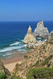 Coast of Portugal. The rocks, similar to ice cream. Royalty Free Stock Photos