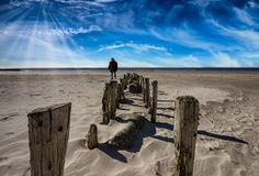 Coast protection in Blaavand at the North sea coast Royalty Free Stock Image