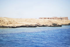 Coast of the Red Sea. Construction on the bank of the Red Sea Stock Photo