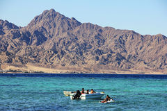 The coast of the Red Sea in Dahab, Egypt. stock image