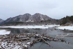 Coast of a reservoir after a flood Royalty Free Stock Photos