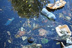 Coast of river polluted with plastic stock photos