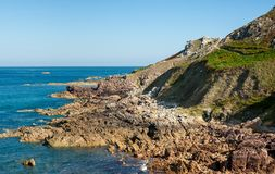 Coast with rocks near Auderville, Normandy France Stock Image