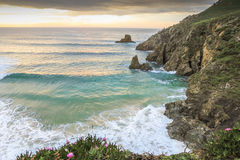 Coast with rocks and sea. Coast of Galicia in Spain, during the evening Stock Image