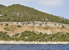 Coast route of Thassos island in Greece. Coast route of Thassos island in a beautiful day of summer stock images