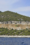 Coast Route of Thassos island in Greece. On a beautiful summer day royalty free stock images