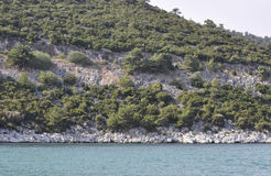 Coast Route of Thassos island in Greece. On a beautiful summer day royalty free stock image