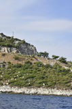 Coast Route of Thassos island in Greece. On a beautiful summer day royalty free stock photography