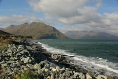 Coast. The rugged coast of Unalaska one of the islands in the Aleutian chain in Alaska, USA Stock Photography