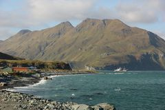 Coast. The rugged coast of Unalaska one of the islands in the Aleutian chain in Alaska, USA Stock Images