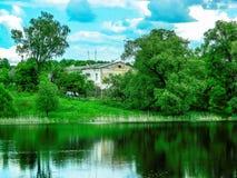 Coast Russian river Shan in the Kaluga region. Stock Photos