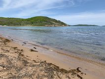 Coast of the Russkiy Russian, Russky island opposite the island of Shkot in spring sunny day. Bay New Dzhigit, Vladivostok, Russ. Ia stock photo