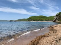 Coast of the Russkiy Russian, Russky island opposite the island of Shkot. Vladivostok, Russia.  stock image