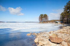 Coast of Saimaa lake, Imatra, Finland Royalty Free Stock Image