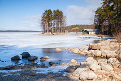 Coast of Saimaa lake, Imatra, Finland Royalty Free Stock Photography