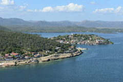 Coast of Santiago de cuba with entrance to the harbor Stock Photo