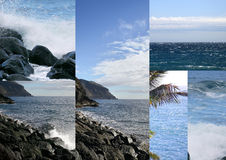 Coast, sea and cliffs. In a collage Stock Photography