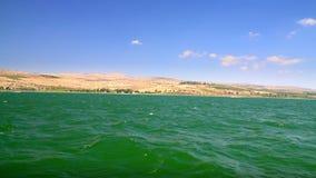 The coast of the Sea of Galilee, Israel stock video footage