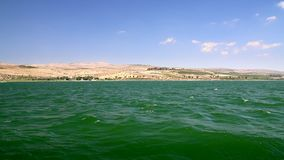 The coast of the Sea of Galilee, Israel stock footage