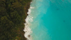 Coast sea in stormy weather.Aerial view:Boracay island Philippines. Rocky shore on the tropical sea with the rainy cloud. Aerial view:Stormy weather on island stock video