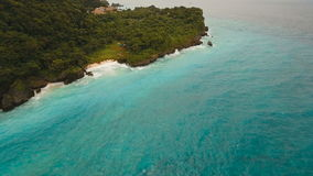 Coast sea in stormy weather.Aerial view:Boracay island Philippines. stock video