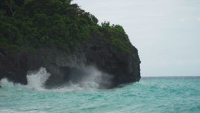 Coast sea in stormy weather. Boracay island Philippines. Rocky shore on the tropical sea with the rainy cloud. Stormy weather on island. Rocks in sea in cloudy stock video