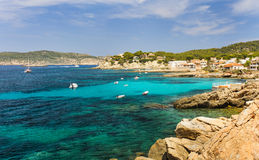 Coast sea view beach Sant Elm. And view on Dragonera. Majorca island, Spain Stock Image