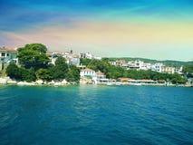 Coast of Skiathos town. Skiathos island, Sporades archipelago. G. Reece Royalty Free Stock Photo