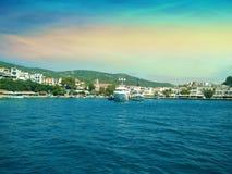 Coast of Skiathos town. Skiathos island, Sporades archipelago. G. Reece Royalty Free Stock Photography