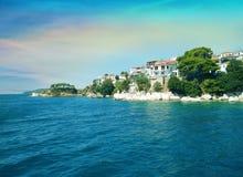 Coast of Skiathos town. Skiathos island, Sporades archipelago. G. Reece Royalty Free Stock Images