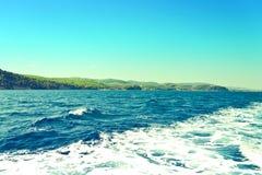 Coast of Skiathos town. Skiathos island, Sporades archipelago. Greece. Coast of Skiathos town. Skiathos island, Sporades archipelago. Greece Stock Photos