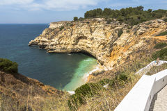 Coast with small beach in Algarve, Portugal Royalty Free Stock Photo