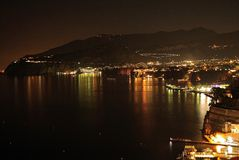 The coast of Sorrento. In a typical summer night Stock Images