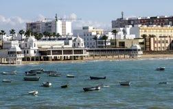 Coast of Cadiz. Coast of the Spanish city of Cadiz on a sunny day. They see boats in the ocean Royalty Free Stock Photography