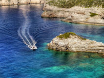 Coast, Speed Boat, Paxos Island, Paxi Royalty Free Stock Photo