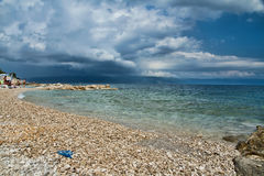 The coast before the storm. The abandoned Istrian coast before the storm Stock Photos
