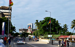 Coast street in Dar. Dar es salaam town modern building and trees Stock Photos
