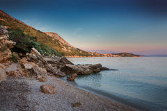 Coast during sunset in Krk, Croatia Royalty Free Stock Photos