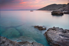 Coast during sunset in Krk, Croatia Royalty Free Stock Images
