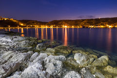 The coast of Susak at night Royalty Free Stock Images