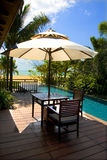 On the coast of the swimming pool. The hotel luxurious resort leisure resort Stock Photography