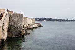 Coast in Syracuse. Mediterranean coast in Syracuse, Sicily, Italy Stock Photo