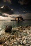 Coast in Syria. Sunset in Mediterranean sea in Syria Stock Image