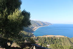 Coast of Taormina. View of Wonderful landscape from Greek amphitheater Stock Photo