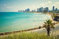 The coast of Tel Aviv. View from the shore to the modern district of Tel Aviv stock photography