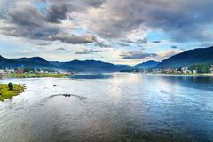 Coast of Teletskoye Lake, view of Artybash and Yogach villages. Altai Republic. Russia Royalty Free Stock Images